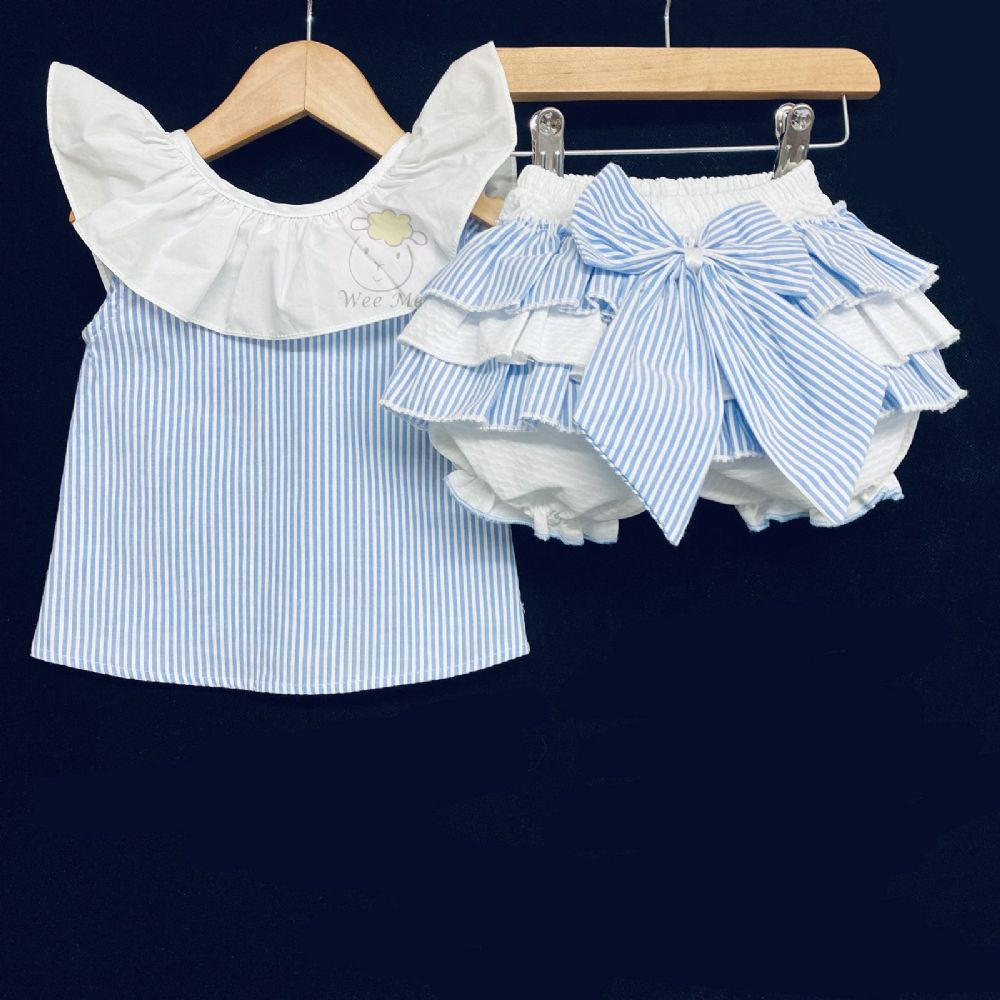 New Baby Girl Blue Candy Stripe Bloomer Blouse Set